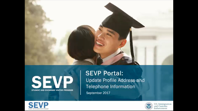 The SEVP Portal Update Profile Address and Telephone Information