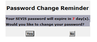 Password change reminder