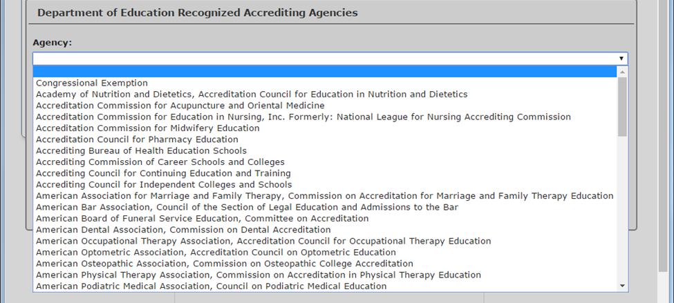 List of accrediting agency