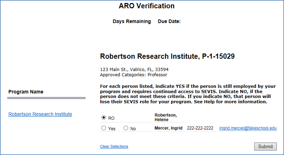 ARO Verification
