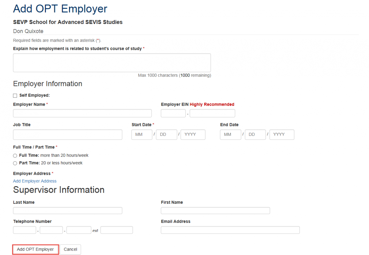 Add OPT Employer callout