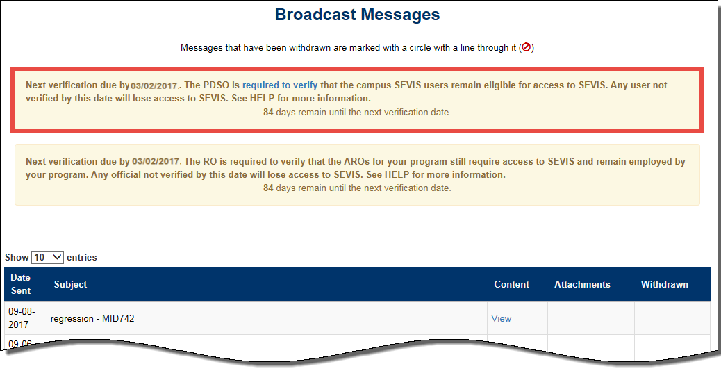 The broadcast message alert