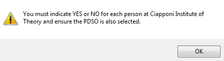 Image of error message informing PDSO to indicate Yes or No for each DSO listed.