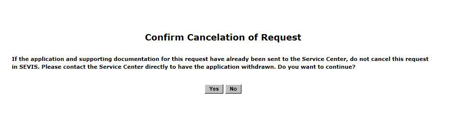 Screenshot of Confirm Cancelation of Request page.