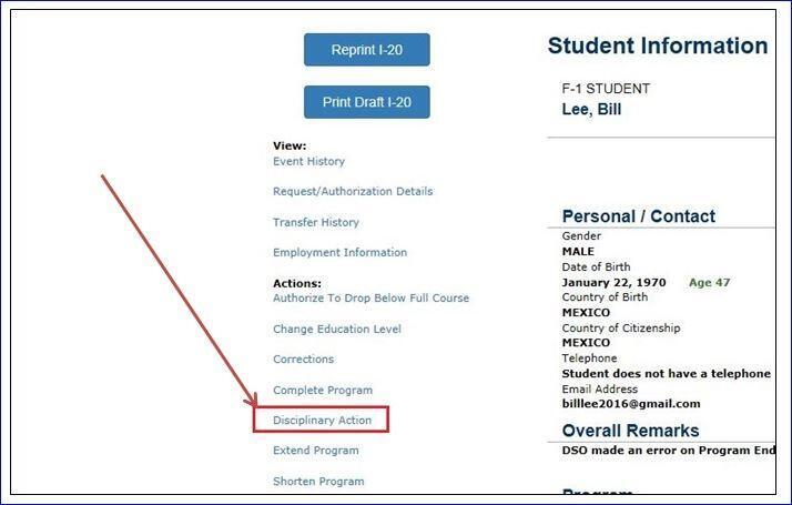 the Student Information page with Disciplinary Action circled