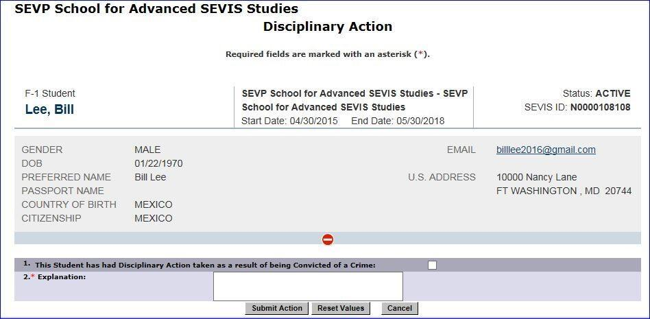 The Disciplinary Action