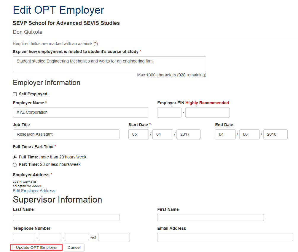 Edit OPT Employer with Udate OPT Employer callout