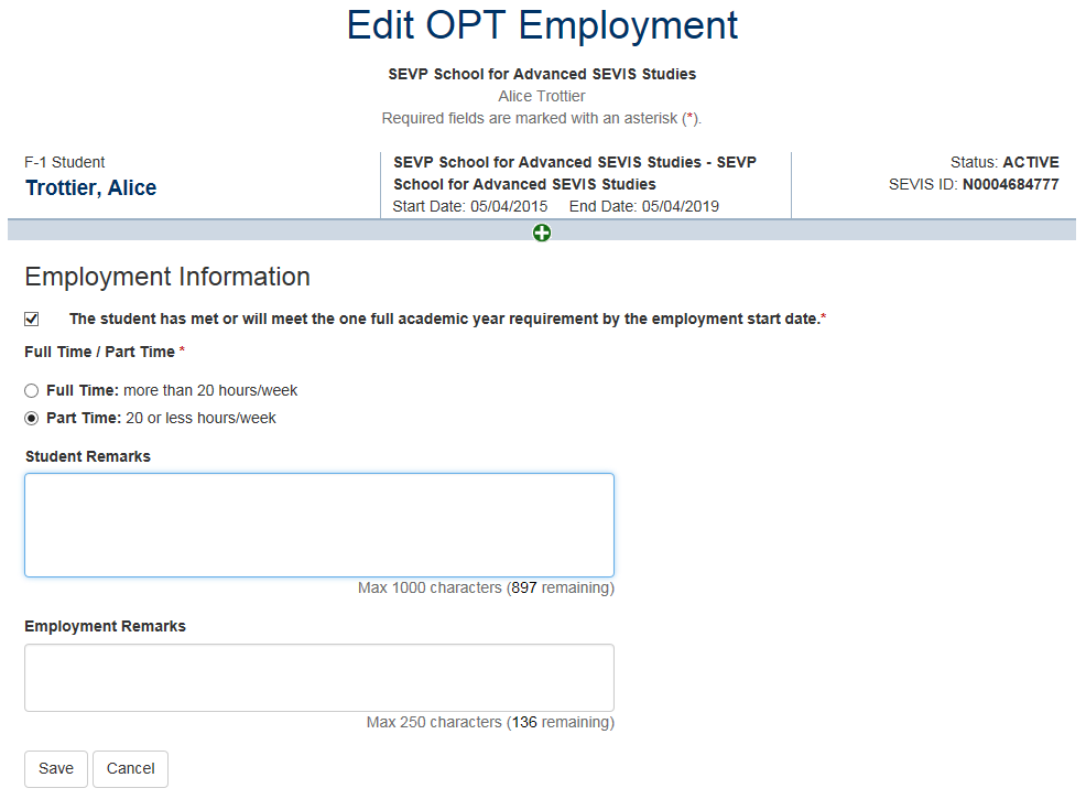 Edit OPT Employment page