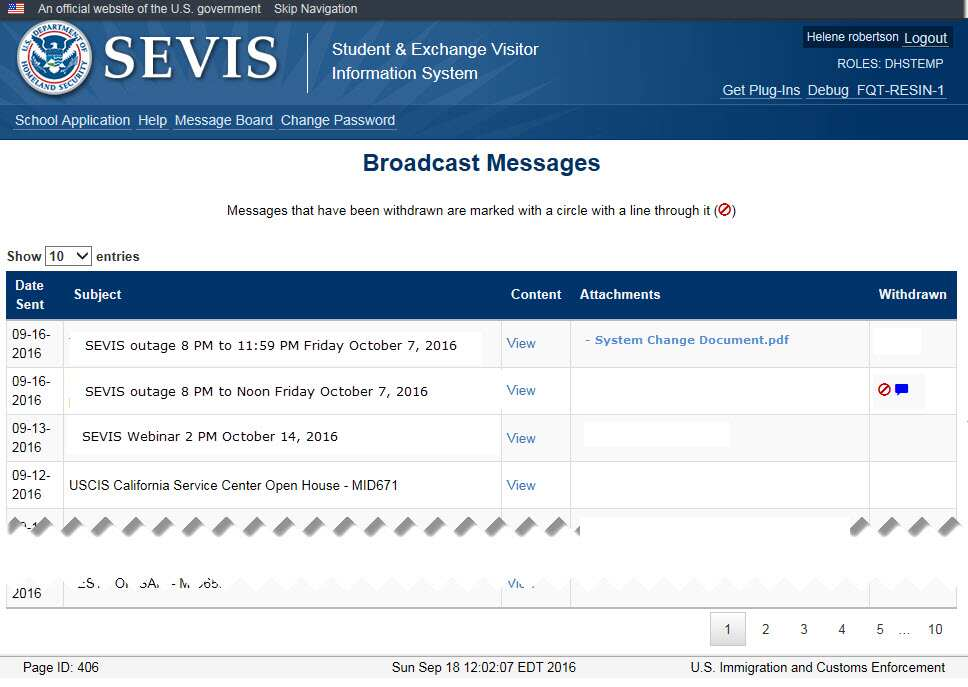 The SEVIS Broadcast Message page