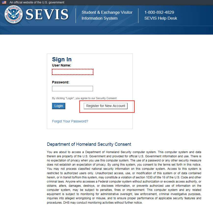 the SEVIS Log In page