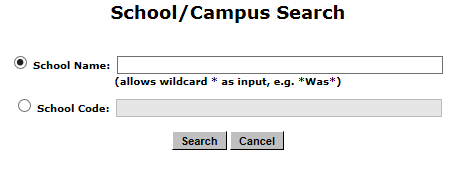The School/Campus Search page