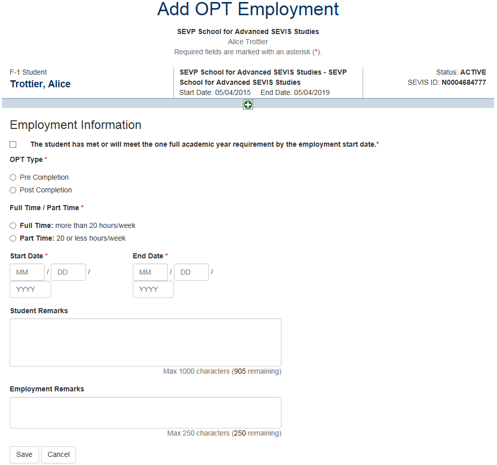 Add OPT Employment page