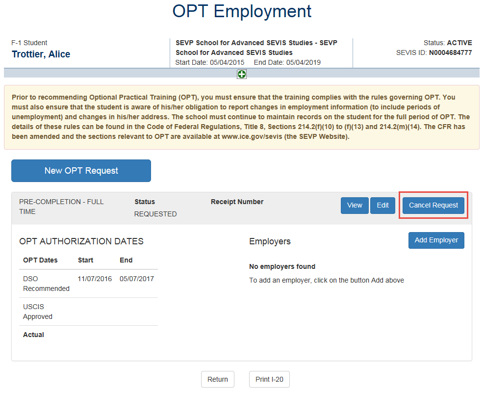 OPT Employment page with Cancel Request call out