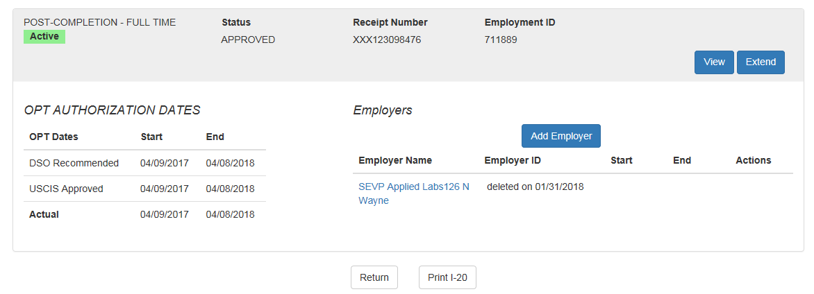 OPT Employment Page with deleted date