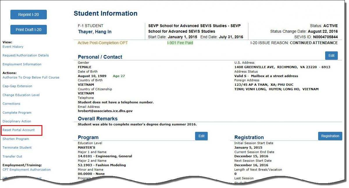 the Student Information page.