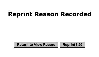 Screenshot of Reprint Reason Recorded message