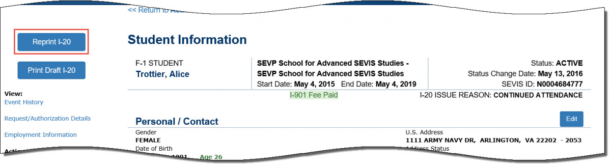 Screenshot of the Student Information page on the SEVIS Help Hub with Print Form I-20 outlined in red rectangle.
