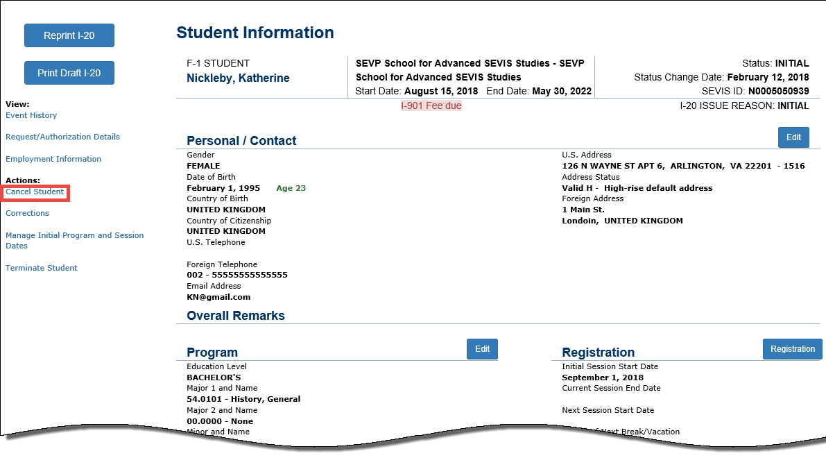 Student information page with Cancel Student function in red.