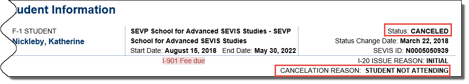 Student information page with canceled status and cancelation reason in red.