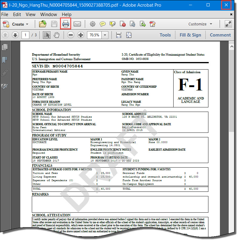 Draft Form I-20 with Print icon and Close button highlighted.