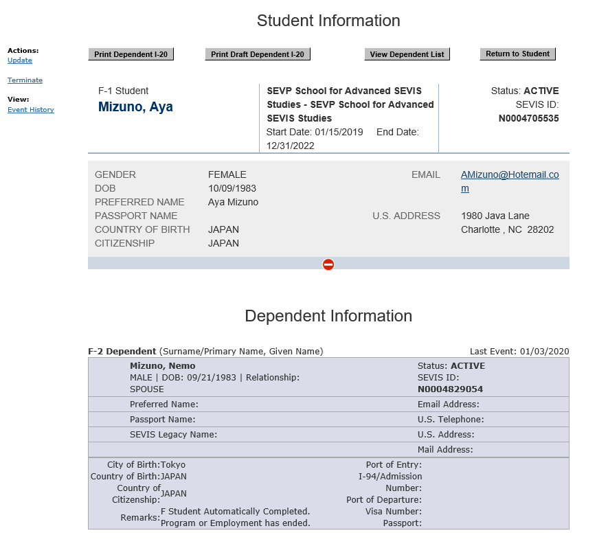 Student and Dependent information pages.
