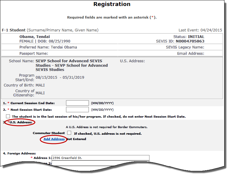 Screen shot of Registration page with the Add Address hyperlink for U.S. addresses circled.