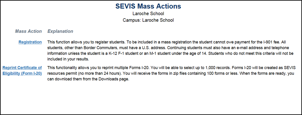 SEVIS Mass Actions