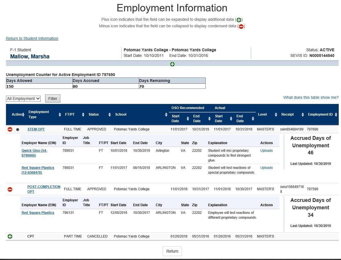A screenshot of a the Employment Information page.
