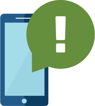 illustration of phone with alert