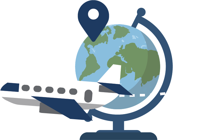 airplane and globe illustration