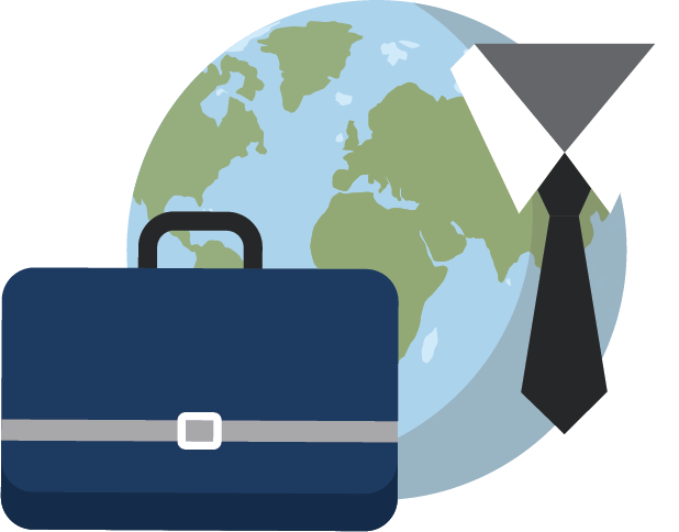 illustration of globe, briefcase and work tie