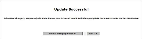 Screenshot of 'Update Successful' page