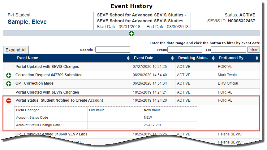 Screenshot of Event History page