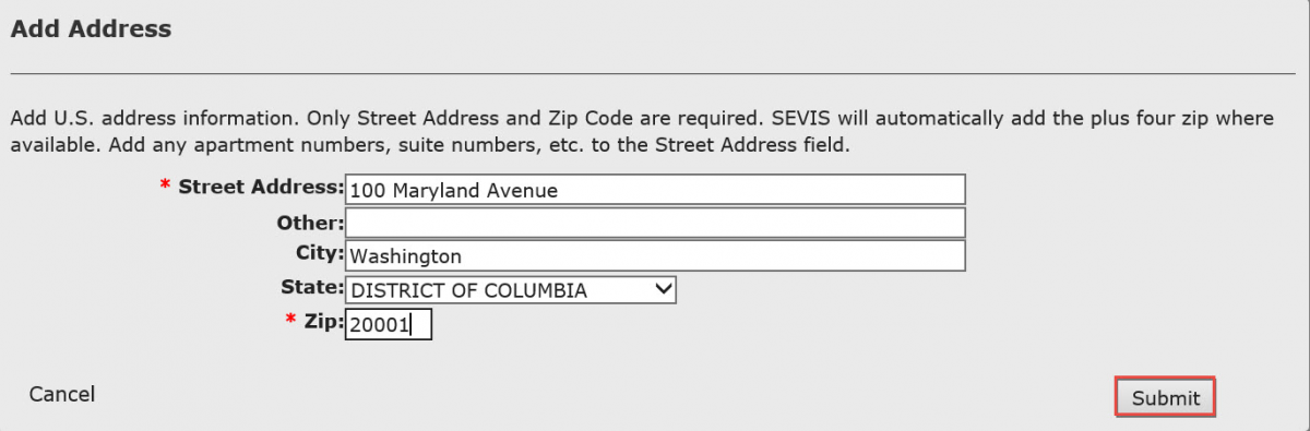 Add Address modal with Student Address added in and Submit button called out.