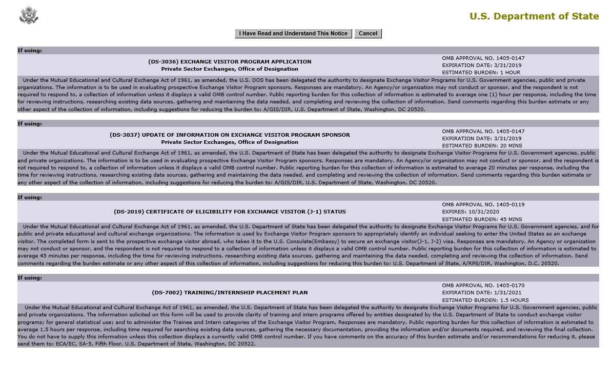 U.S. Department of State Use of Information Acknowledgement page