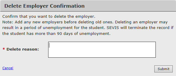 Delete Employer Confirmation