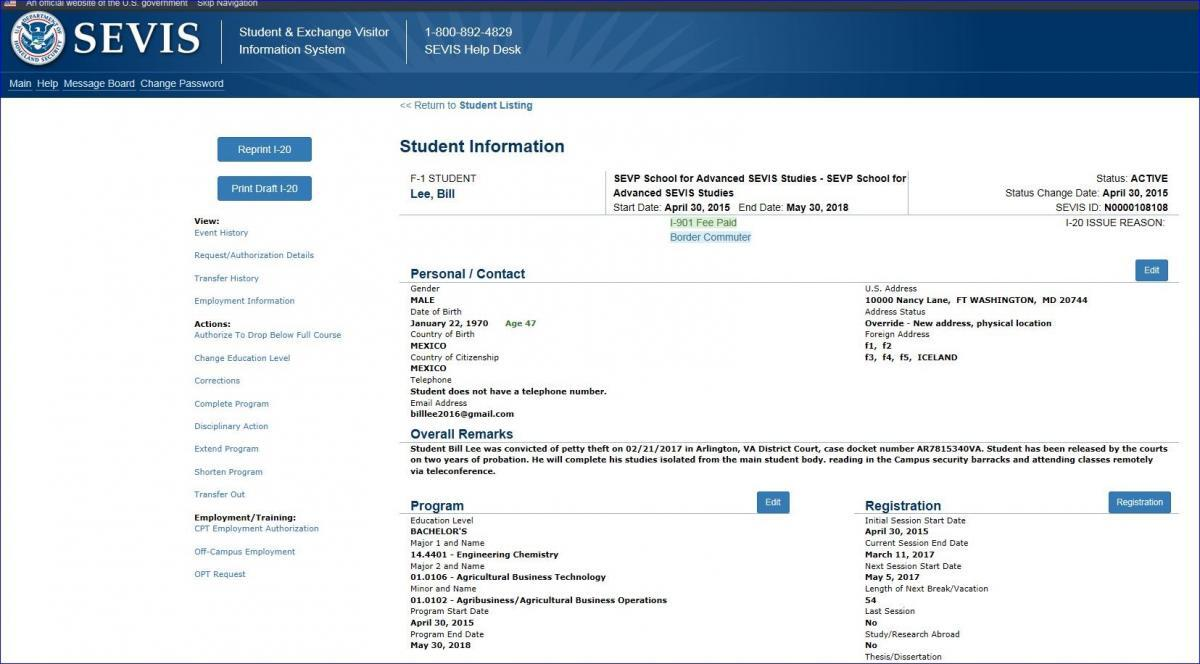 the Student Information page with the Explanation comments printed in the Overall Remarks field