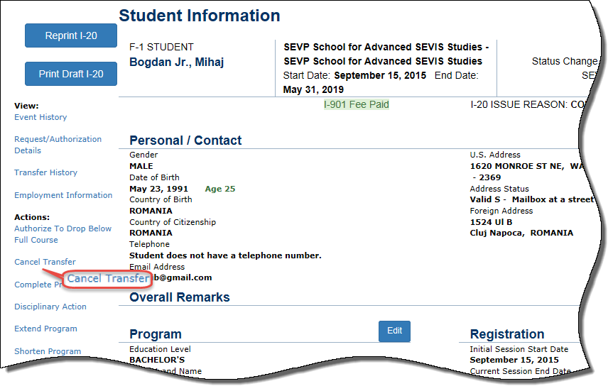 the Student Information page