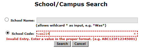 School Search Page Error Message