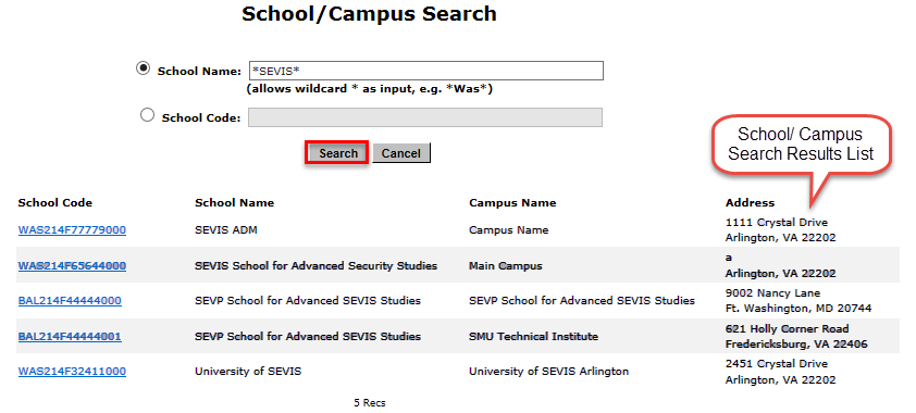The School/ Campus Search page with a list of choices