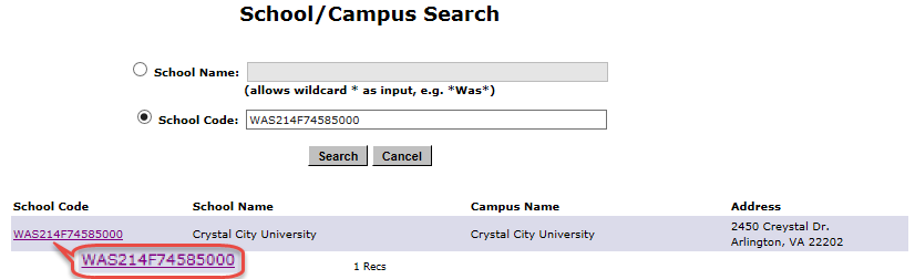 School Search Page with a specific campus selected