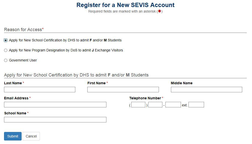 Register for a New SEVIS Account page with  additional fields to collect more information