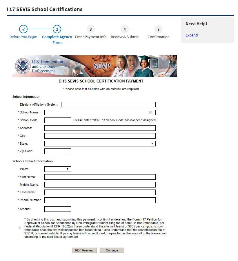 Pay.Gov Complete Agency Form Page