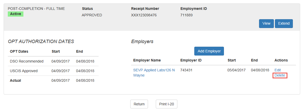 OPT Employment Page with hyperlinked Delete callout