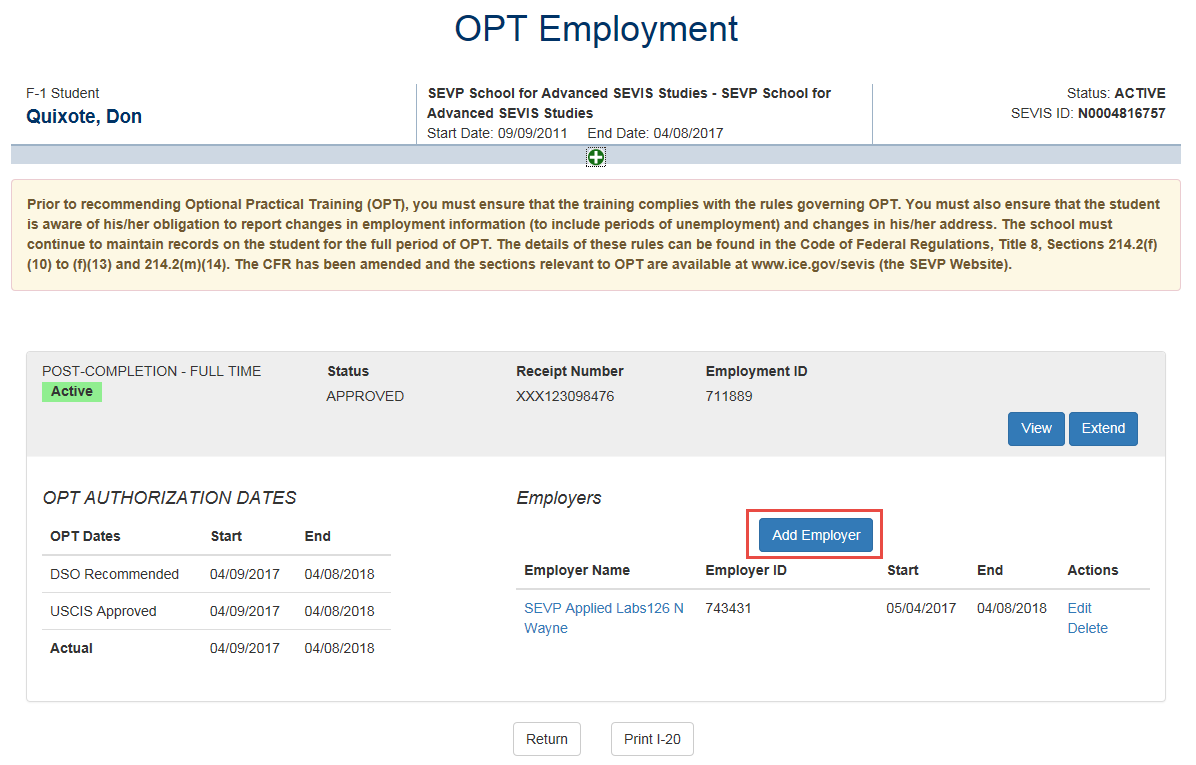 OPT Employment page with Add Employer call out