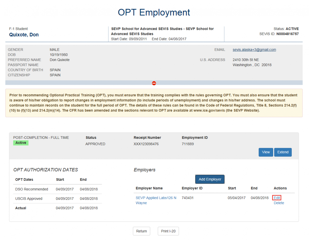 OPT Employment page