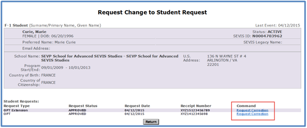 F 1 optional practical training opt study in the states screenshot of request change to student request page with request correction link in the command column altavistaventures Choice Image