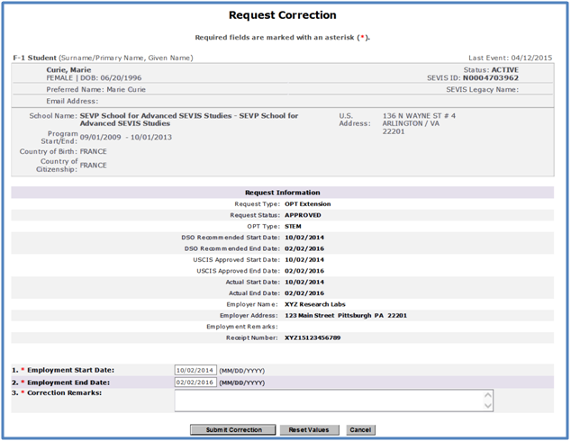 Screenshot of Request Correction page.