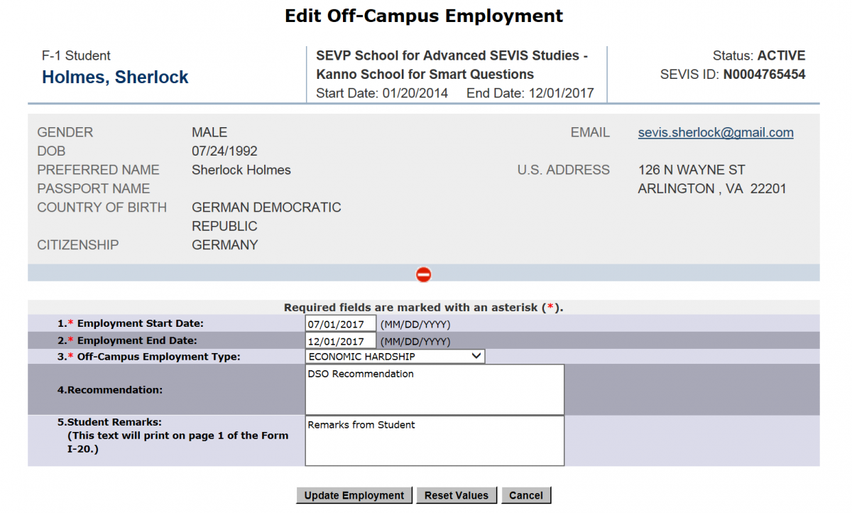 The Add Off-Campus Employment page