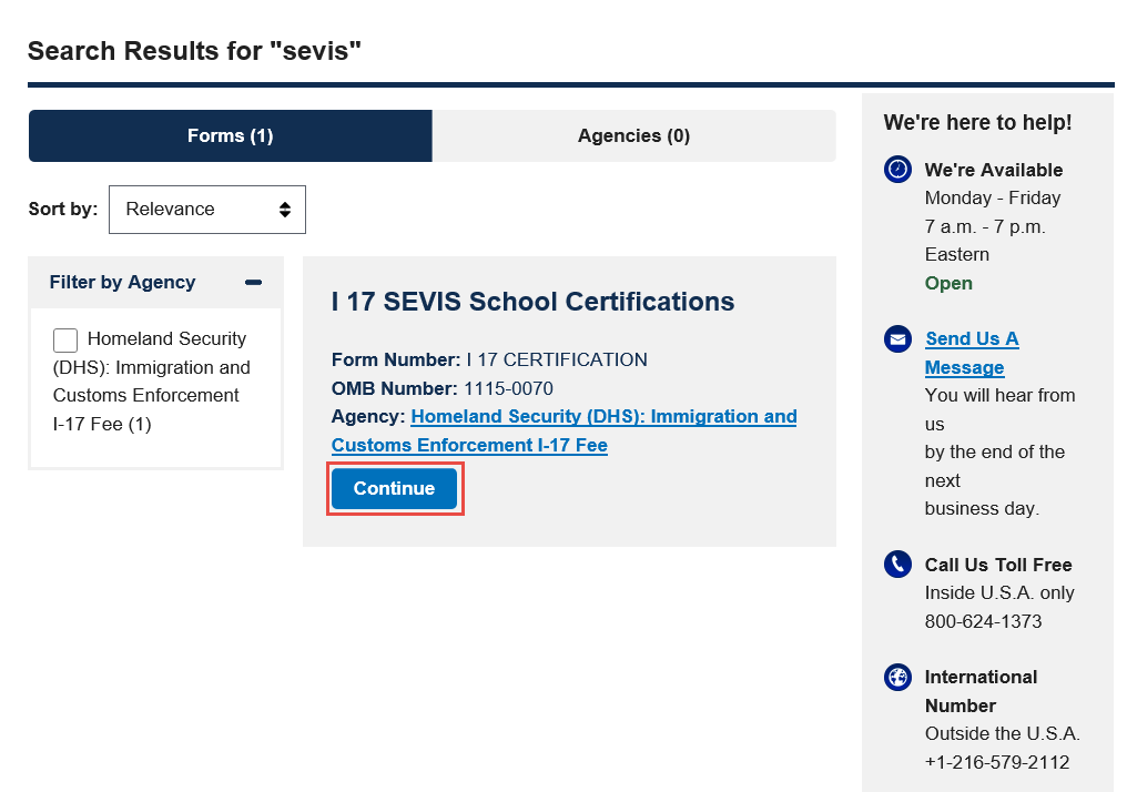 Search Results for SEVIS page
